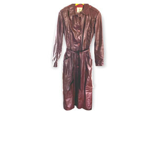 Vintage red leather trench  70s jacket